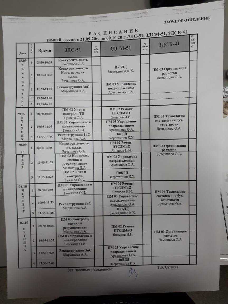 Расписание заочное отделение